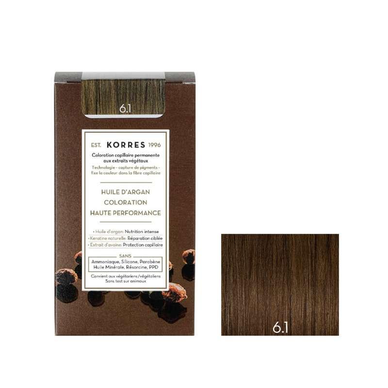Coloration permanente huile d'argan blond foncé cendré 6.1, Korres (50 ml)