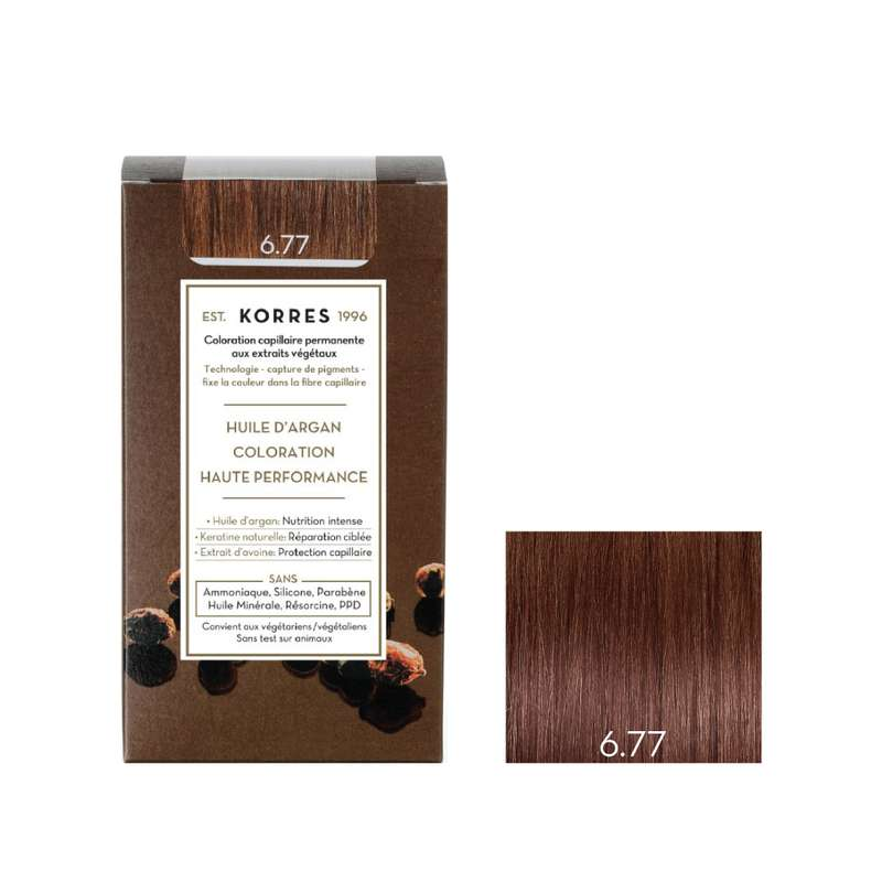 Coloration permanente huile d'argan blond foncé marron intense 6.77, Korres (50 ml)