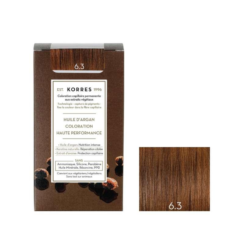Coloration permanente huile d'argan blond miel doré 6.3, Korres (50 ml)