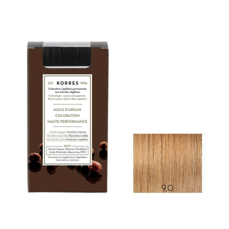 Coloration permanente huile d'argan blond très clair 9.0, Korres (50 ml)