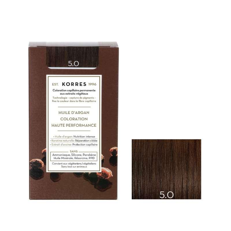 Coloration permanente huile d'argan châtain clair 5.0, Korres (50 ml)