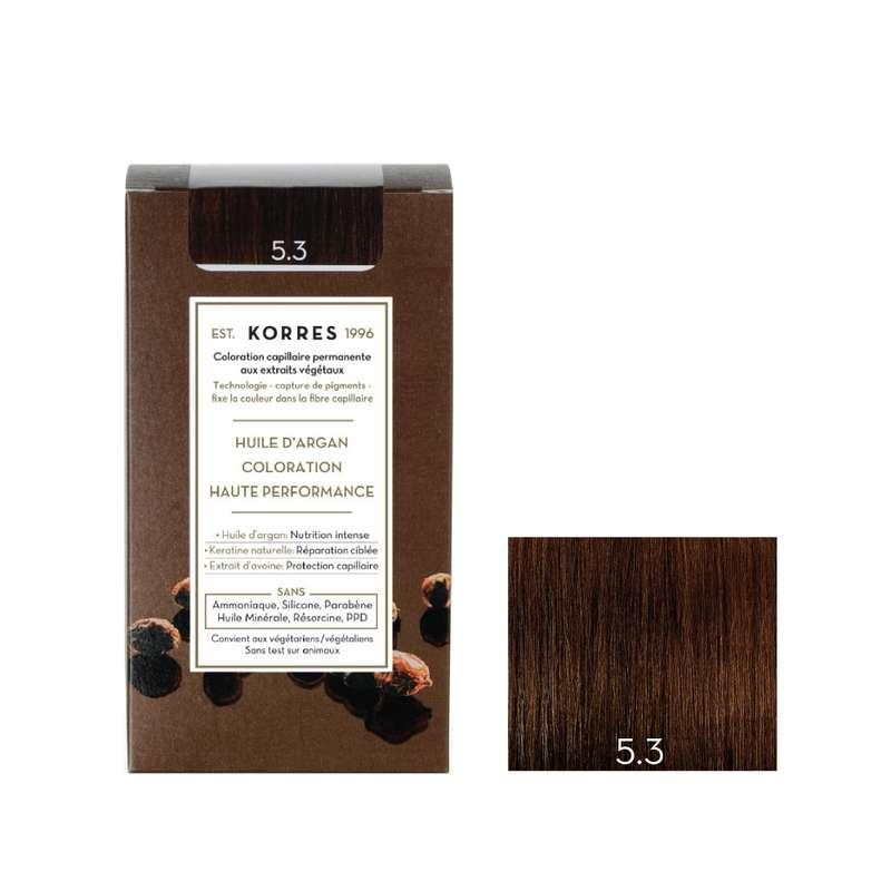 Coloration permanente huile d'argan châtain doré 5.3, Korres (50 ml)
