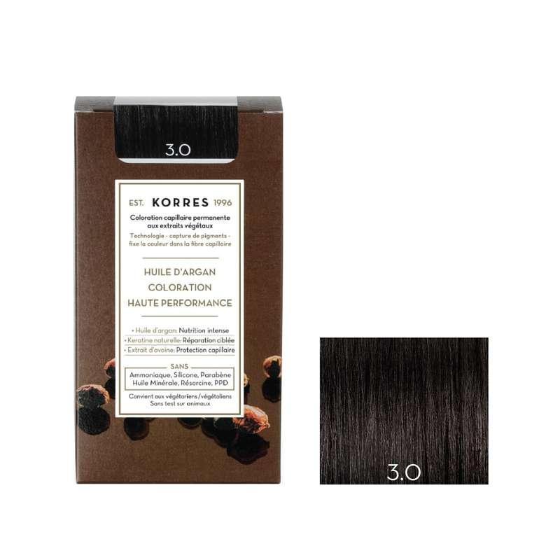 Coloration permanente huile d'argan châtain foncé naturel 3.0, Korres (50 ml)