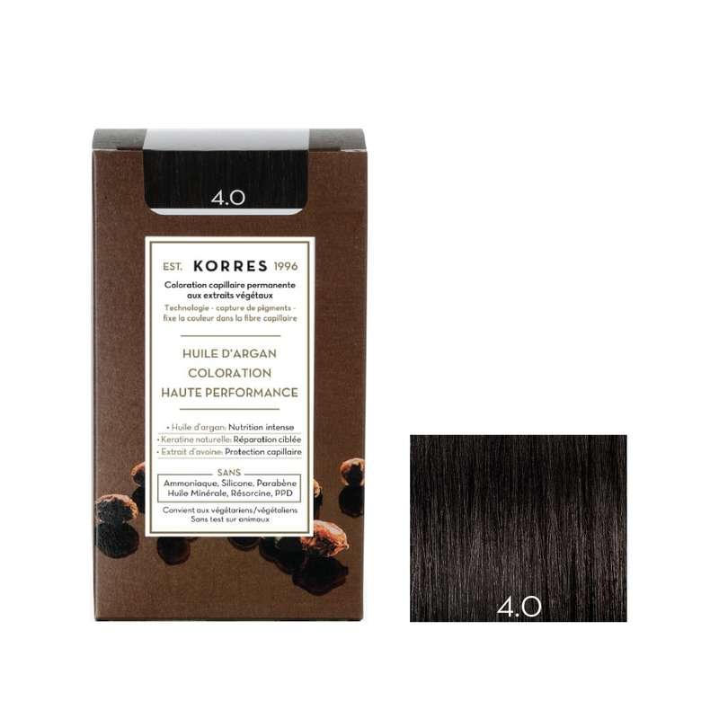 Coloration permanente huile d'argan châtain naturel 4.0, Korres (50 ml)