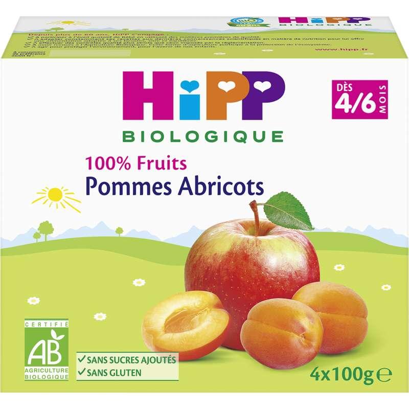 100% fruits pomme, abricot BIO - dès 4 mois, Hipp (4 x 100 g)
