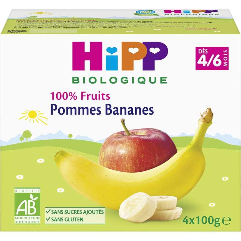 100% fruits pomme, banane BIO - dès 4 mois, Hipp (4 x 100 g)