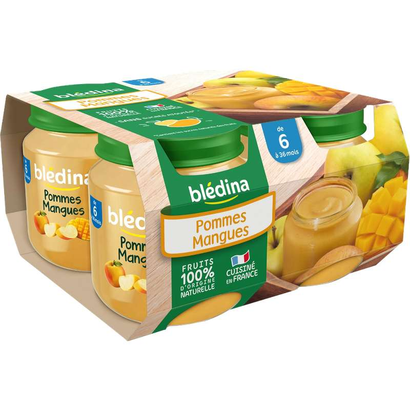 Petit pot pommes, mangues - dès 6 mois, Blédina (4 x 130 g)