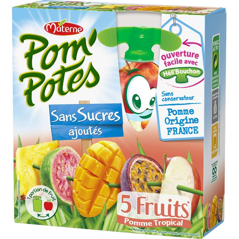 Pom'Potes 5 fruits tropical, Materne (4 x 90g)