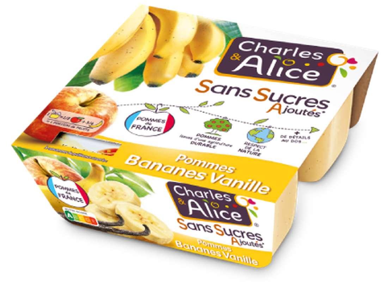 Compote pomme, banane et vanille sans sucres ajoutés, Charles & Alice (4 x 100 g)