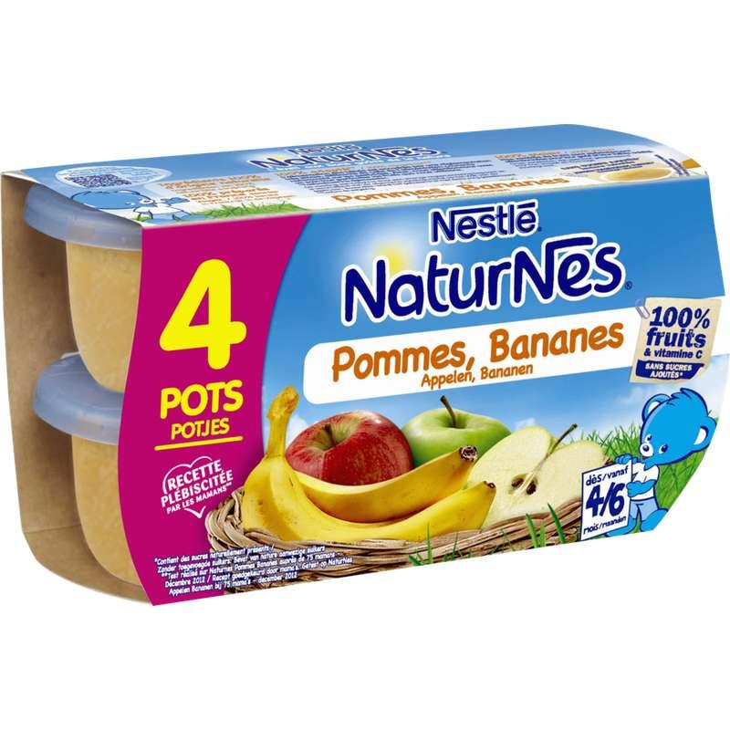 Pommes, bananes 100% fruits - dès 4/6 mois, Naturnes Nestlé (4 x 130 g)