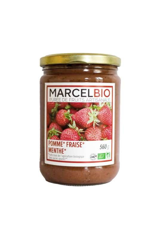 Compote Pomme, Fraise et Menthe sans sucres ajoutés BIO, Marcel BIO (560 g)