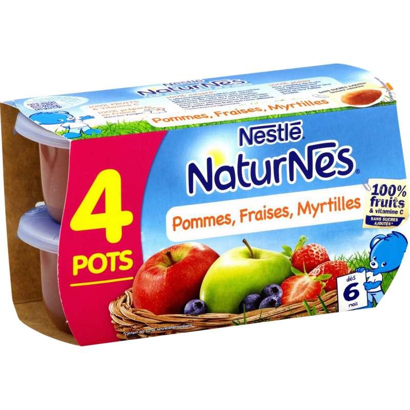 Pommes, fraises, myrtilles 100% fruits - dès 6 mois, Naturnes Nestlé (4 x 130 g)