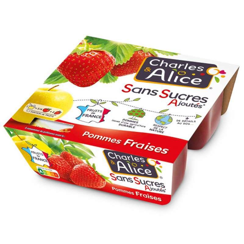 Compote pomme fraise sans sucres ajoutés, Charles et Alice (4 x 97 g)