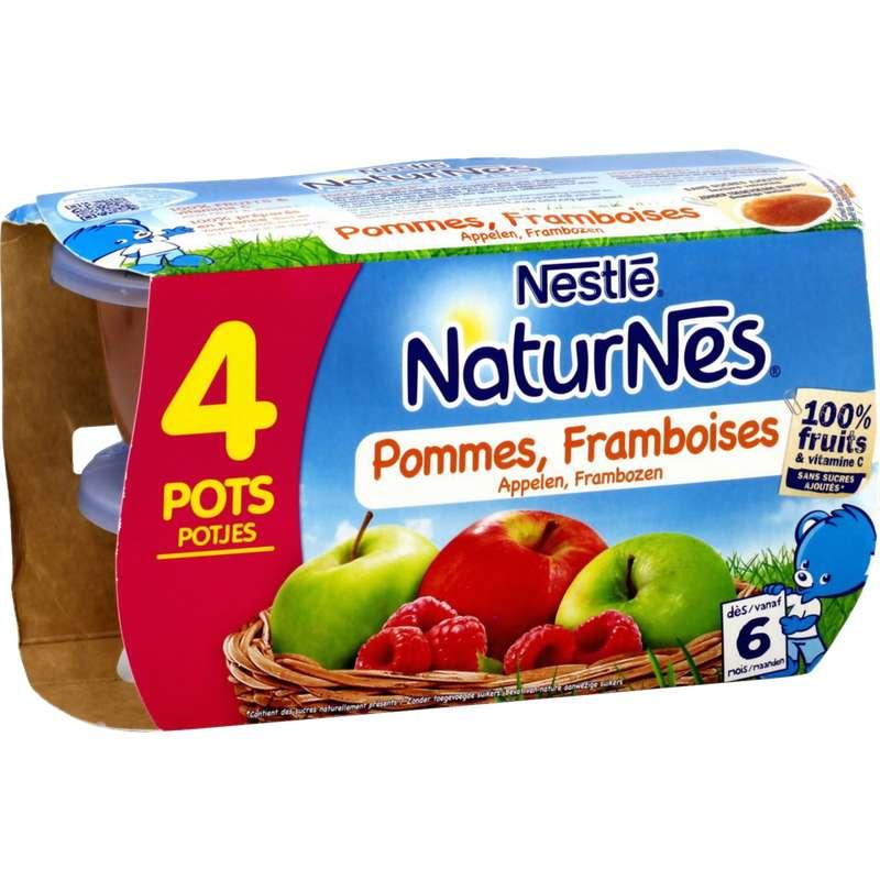 Pommes, framboises 100% fruits - dès 6 mois, Naturnes Nestlé (4 x 130 g)