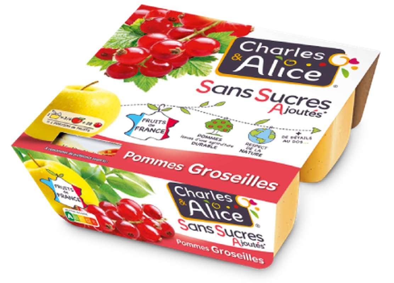 Compote pomme groseille sans sucres ajoutés, Charles et Alice (4 x 97 g)