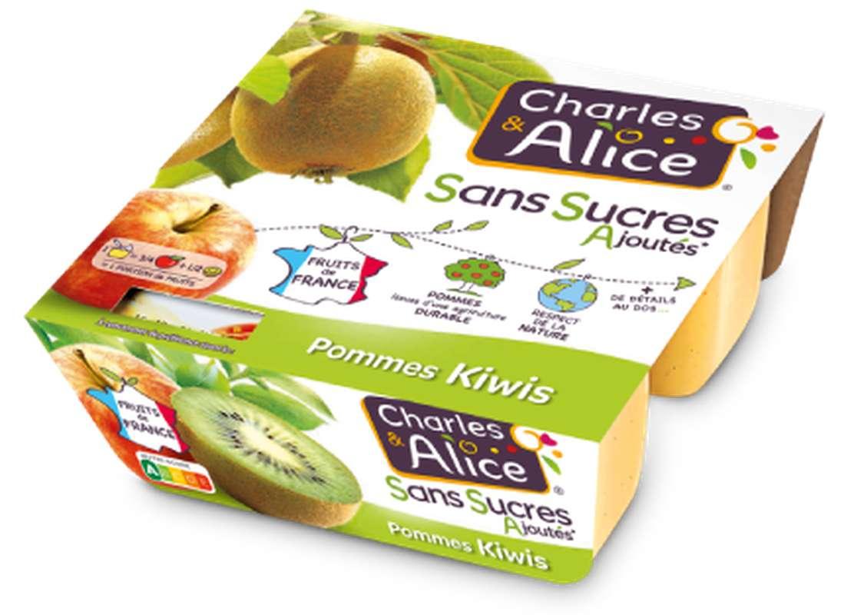 Compote pomme kiwi sans sucres ajoutés, Charles et Alice (4 x 97 g)