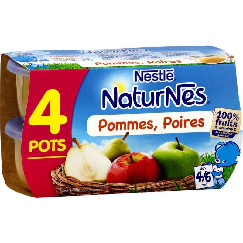 Pommes, poires 100% fruits - dès 4/6 mois, Naturnes Nestlé (4 x 130 g)