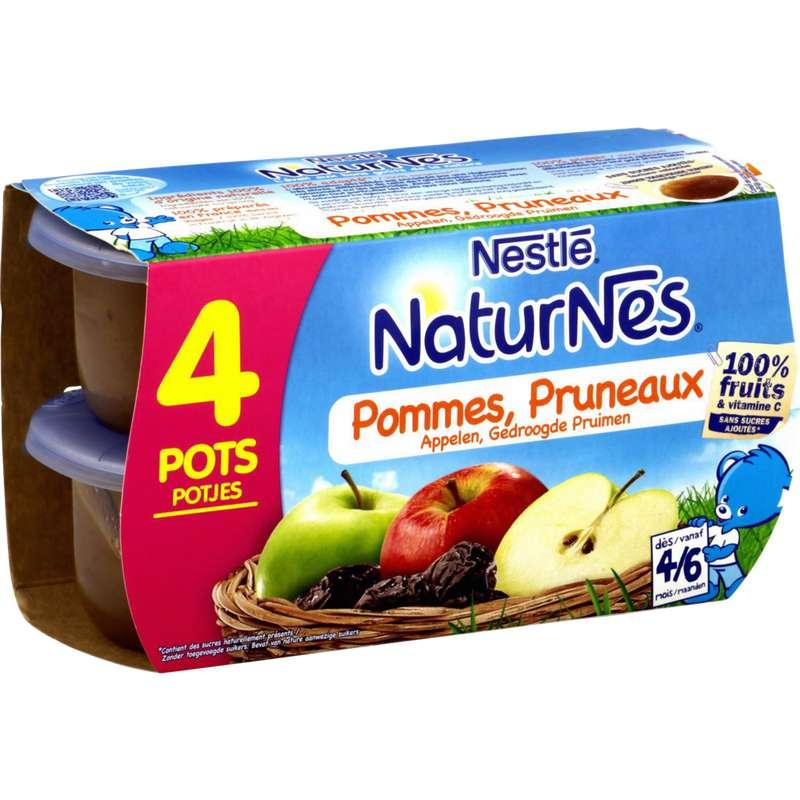 Pommes, pruneaux 100% fruits - dès 4/6 mois, Naturnes Nestlé (4 x 130 g)