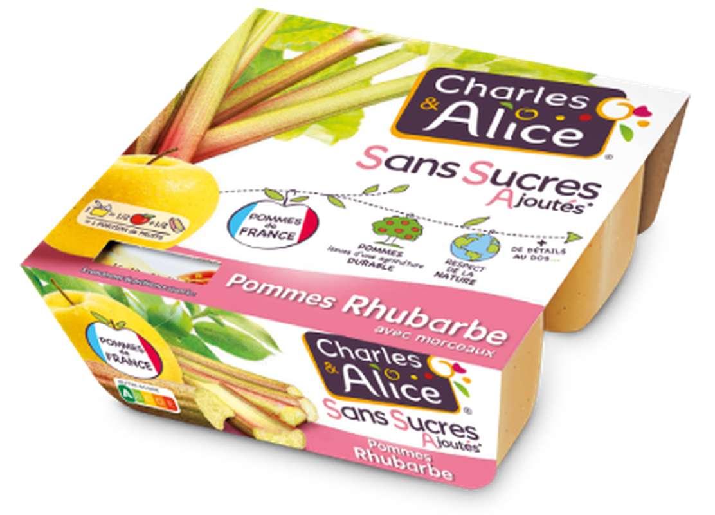 Compote pomme rhubarbe sans sucres ajoutés, Charles et Alice (4 x 97 g)