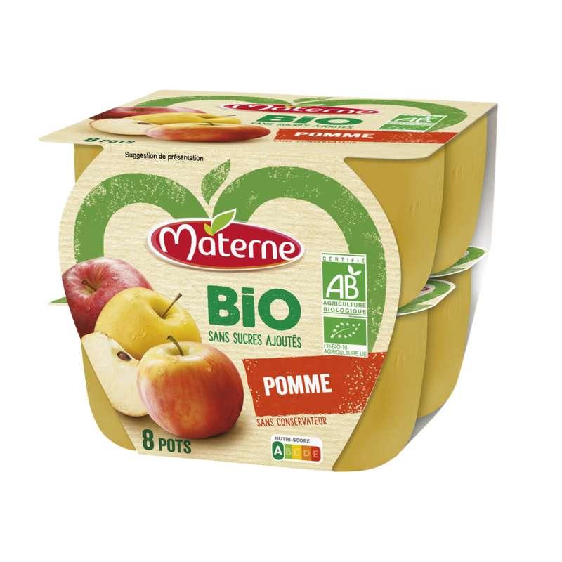 Compote pomme sans sucre ajouté BIO, Materne (8 x 100 g)