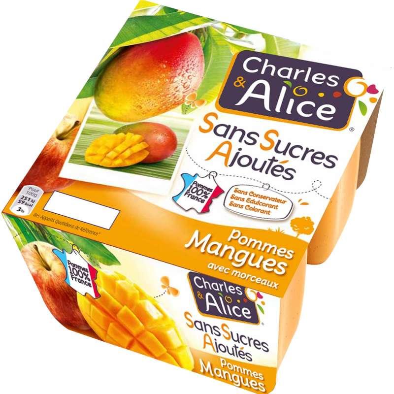 Compote pomme mangue sans sucres ajoutés, Charles et Alice (4 x 100 g)