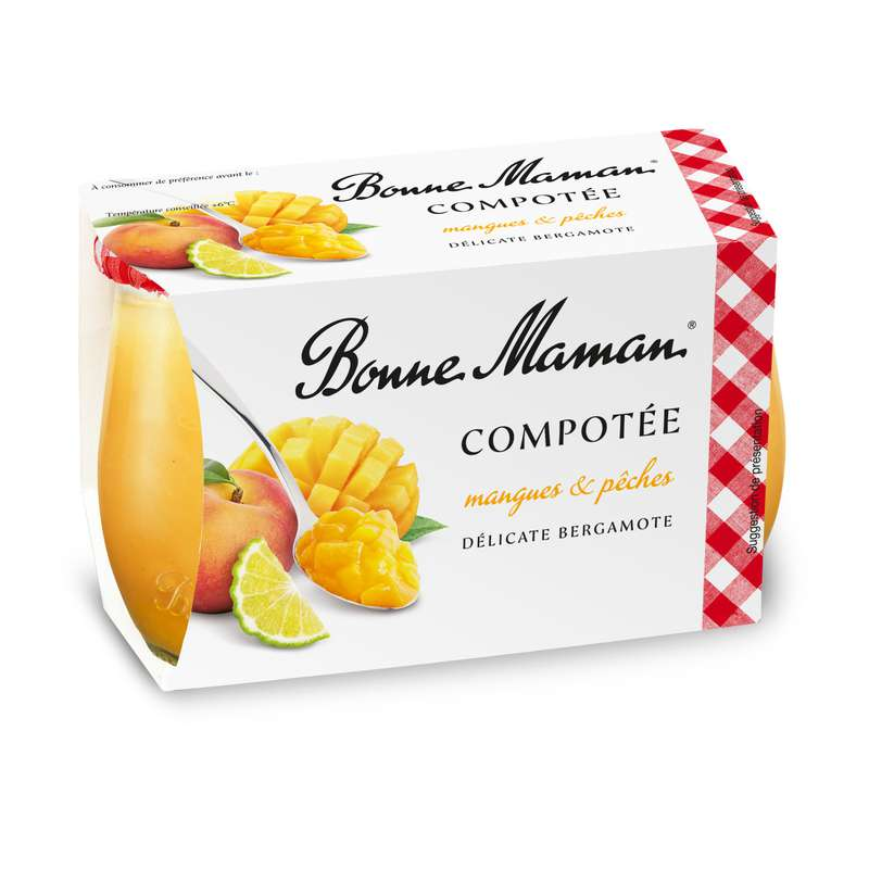 Compotée de mangues, pêches et bergamote, Bonne Maman (2 x 130 g)