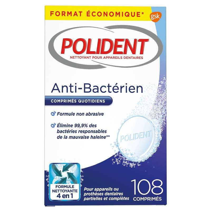 Comprimés nettoyant anti-plaque, anti-bactérien, Polident (x 108)