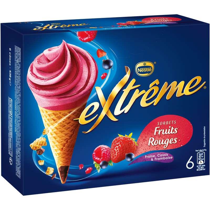 Cône sorbet framboise cassis fraise, Extreme (x 6)