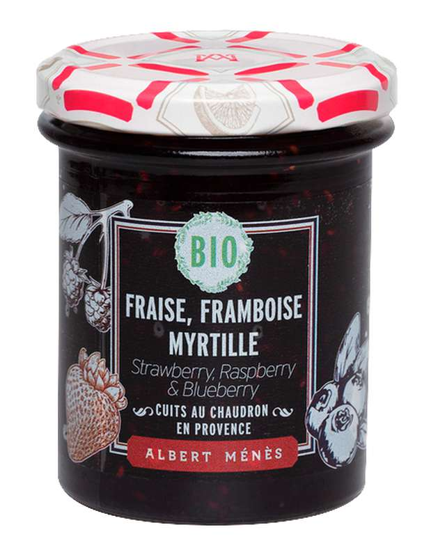 Confiture Extra de Fraise, Framboise et Myrtille BIO, Albert Ménès (230 g)