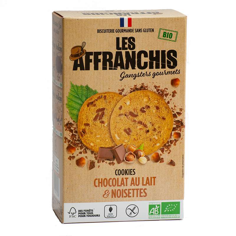 Cookies Chocolat lait et Noisettes Sans Gluten BIO, Les Affranchis (x 6, 150g)