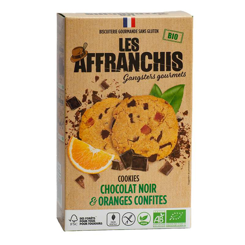 Cookies Chocolat noir et Orange confites Vegan BIO, Les Affranchis (x6, 150g)