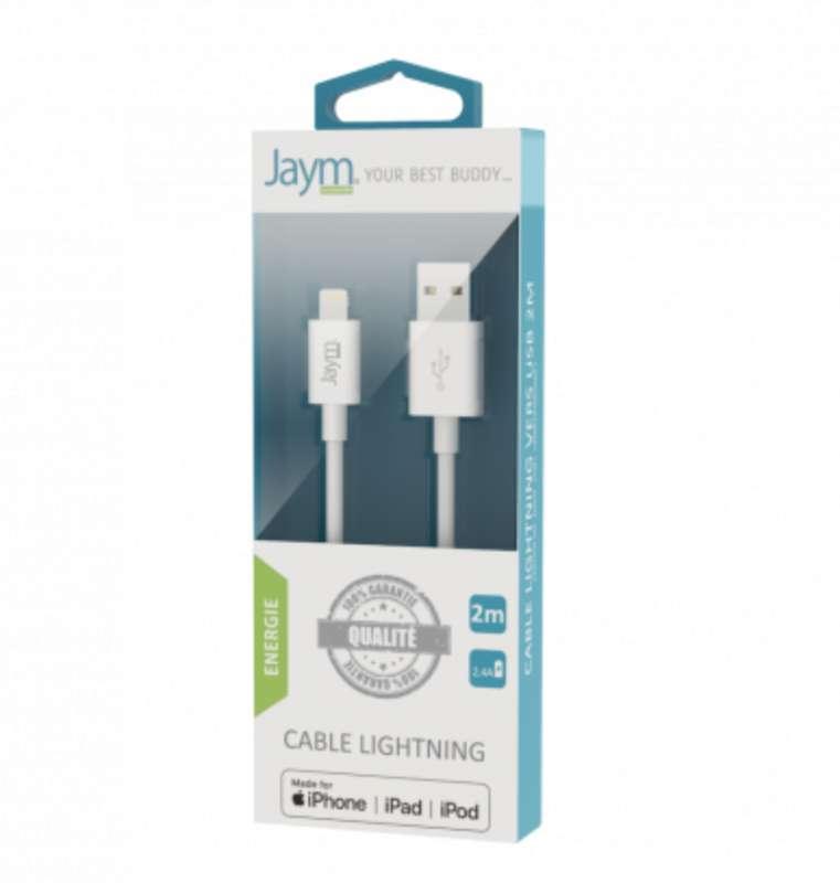 Câble de charge & synchro usb vers iPhone (lightning) blanc, Jaym (longueur 2 m)