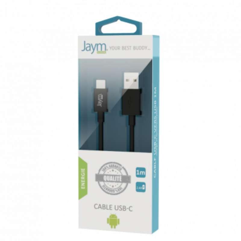 Câble charge & synchro usb vers type-c noir, Jaym (longueur 1 m)