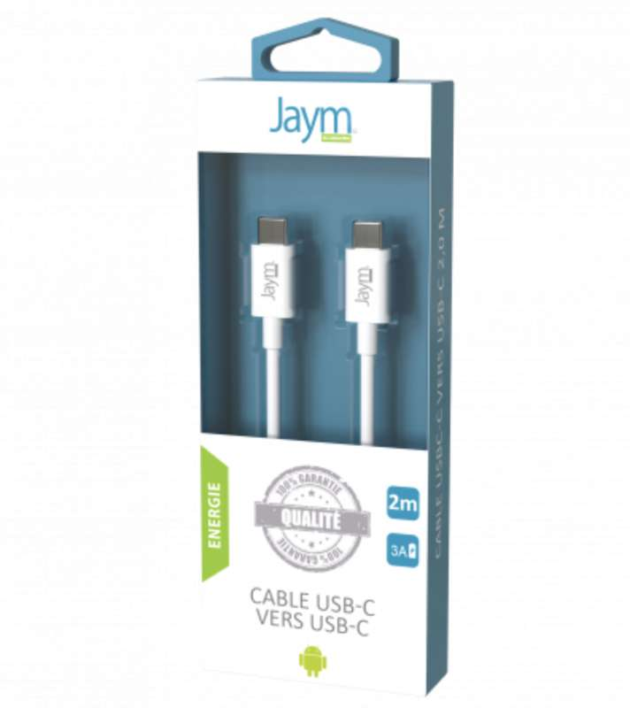 Câble charge & synchro usb-c vers type-c blanc, Jaym (longueur 2 m)
