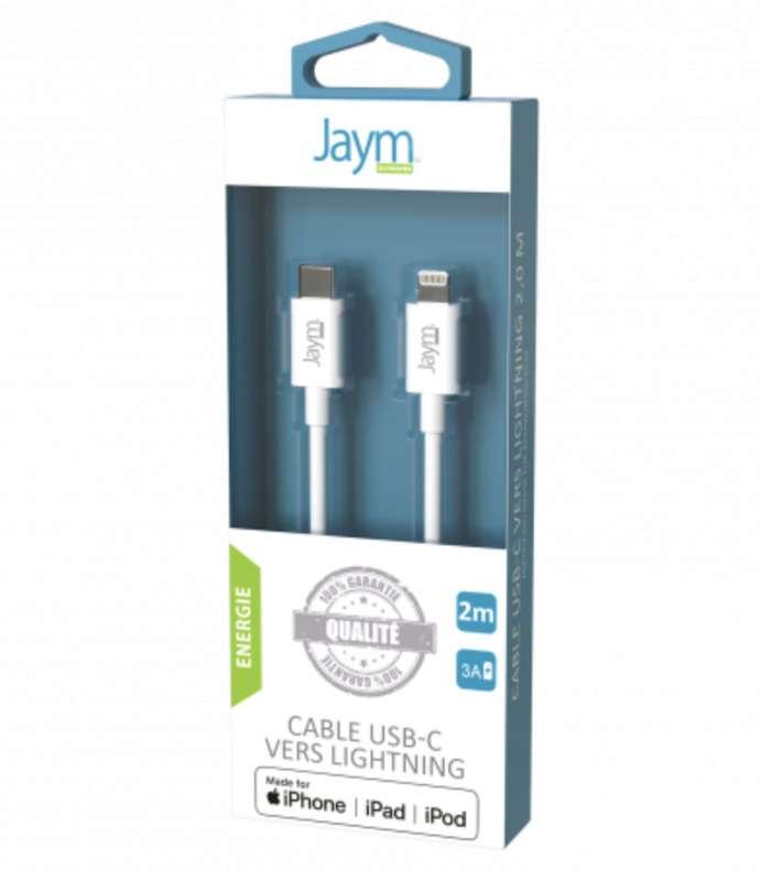 Câble charge & synchro usb-c vers iPhone (lightning) blanc, Jaym (longueur 2 m)