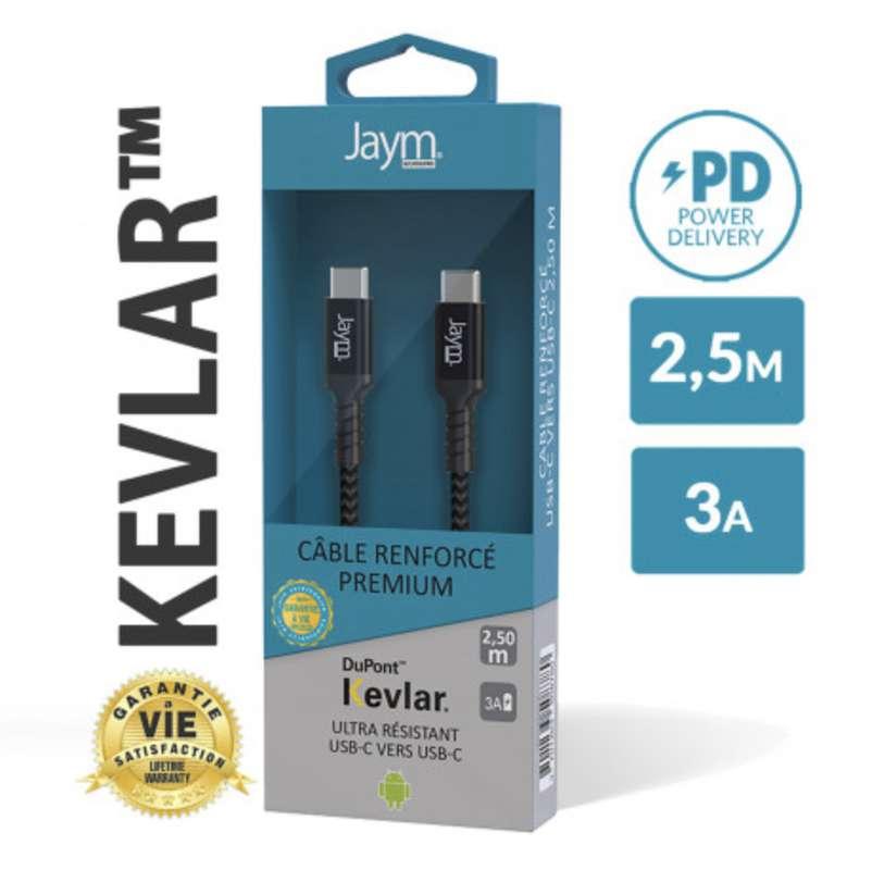 Câble renforcé en kevlar power delivery usb-c vers type-c, Jaym (longueur 2,5 m)