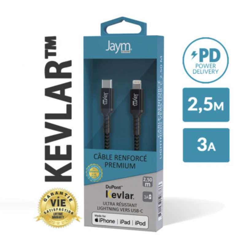 Câble renforcé en kevlar usb-c vers iPhone (lightning), Jaym (longueur 2,5 m)