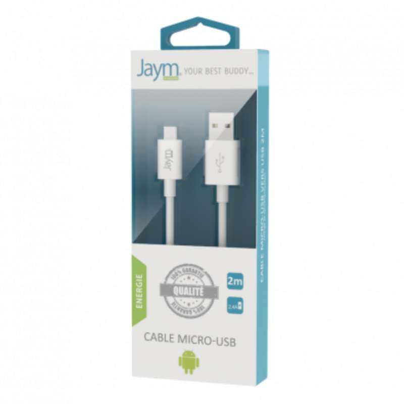 Câble charge & synchro usb vers micro-usb blanc, Jaym (longueur 2 m)