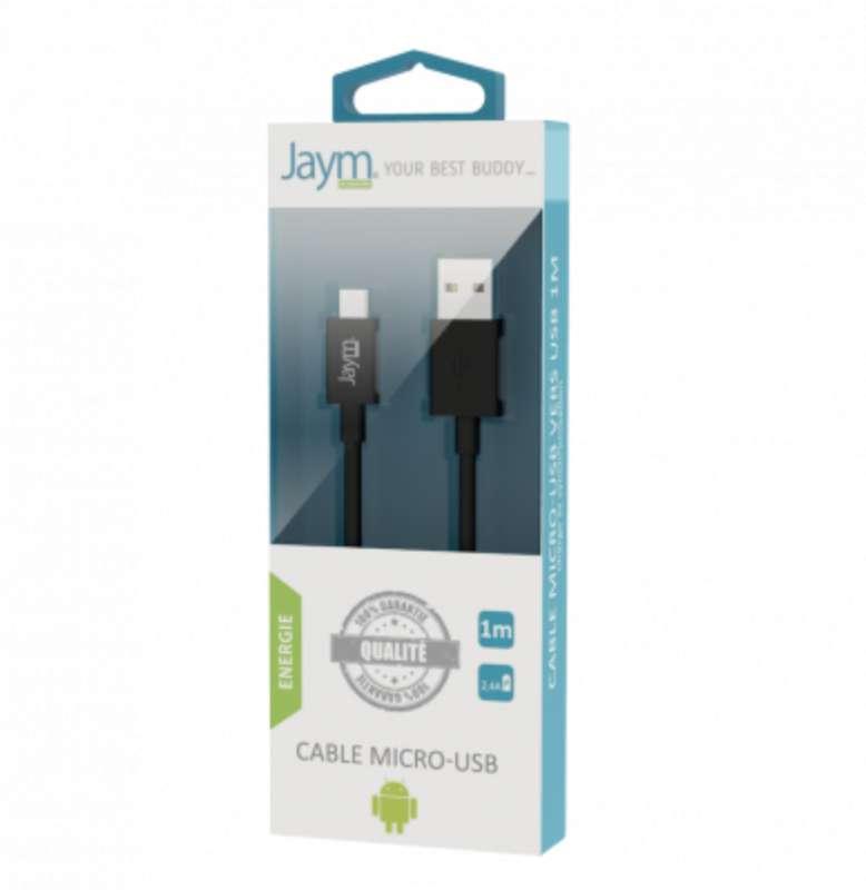 Câble charge & synchro usb vers micro-usb noir, Jaym (longueur 1 m)