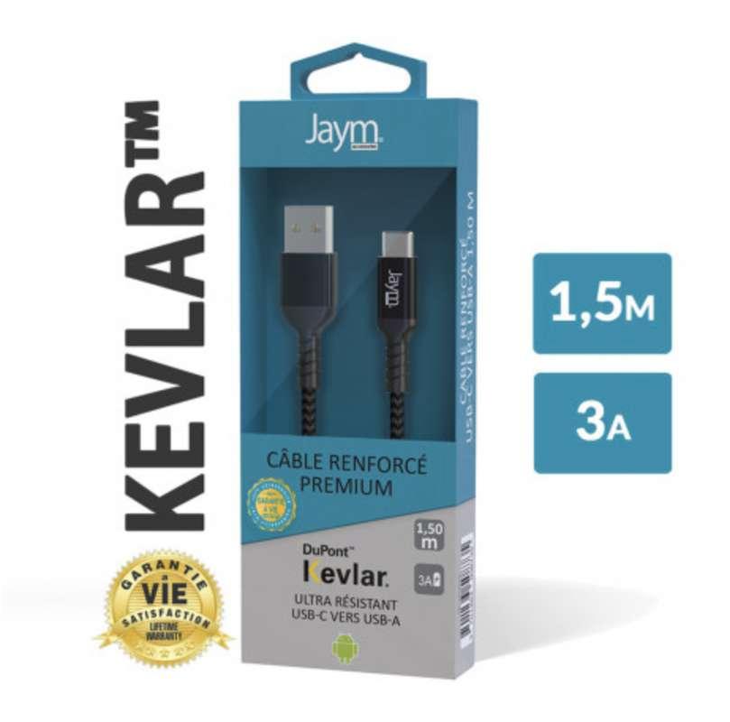 Câble renforcé Dupont kevlar usb vers type-c, Jaym (longueur 1,5 m)
