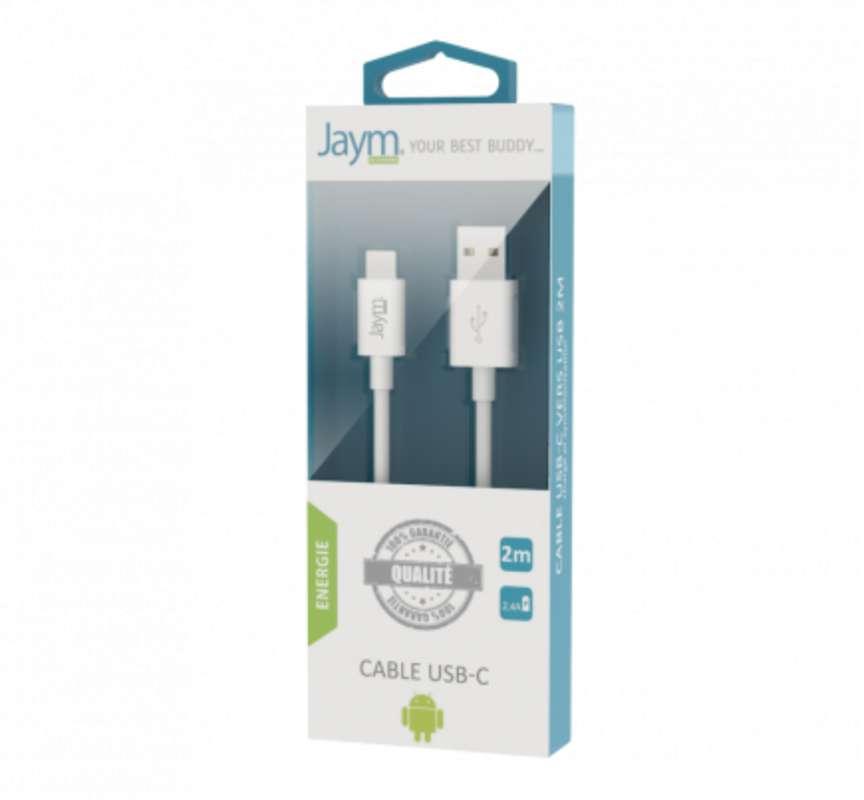 Câble charge & synchro usb vers type-c blanc, Jaym (longueur 2 m)