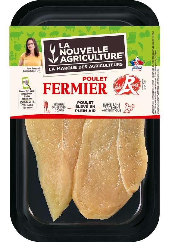 Escalopes de poulet fermier Label rouge, La Nouvelle Agriculture (x 2, 200 - 250 g)
