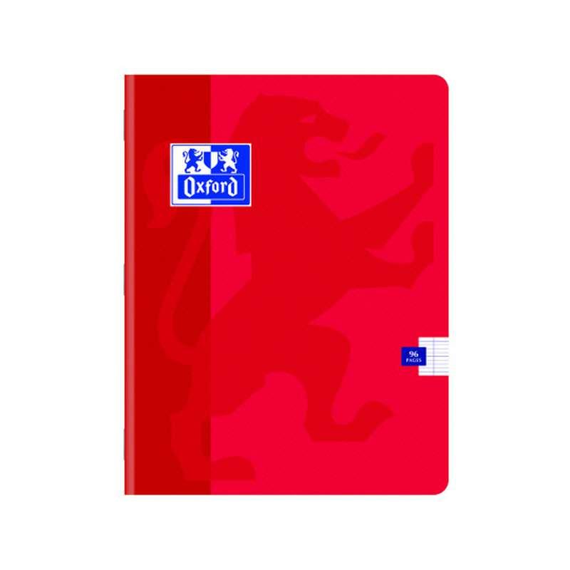 Petit cahier à agrafes colori rouge, Oxford (1 cahier, 17 x 22 cm, 96 pages)