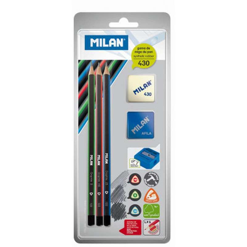 3 crayons graphite HB / B / 2B + 1 taille-crayon + 1 gomme, Milan