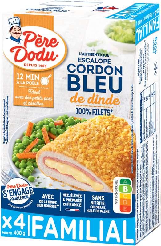 Cordon bleu de dinde format familial, Père Dodu (x 4, 400 g)
