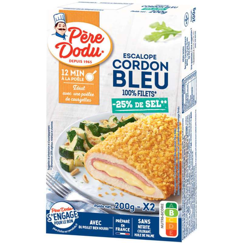 Cordon bleu de poulet -25% de sel, Père Dodu (x 2, 200 g)