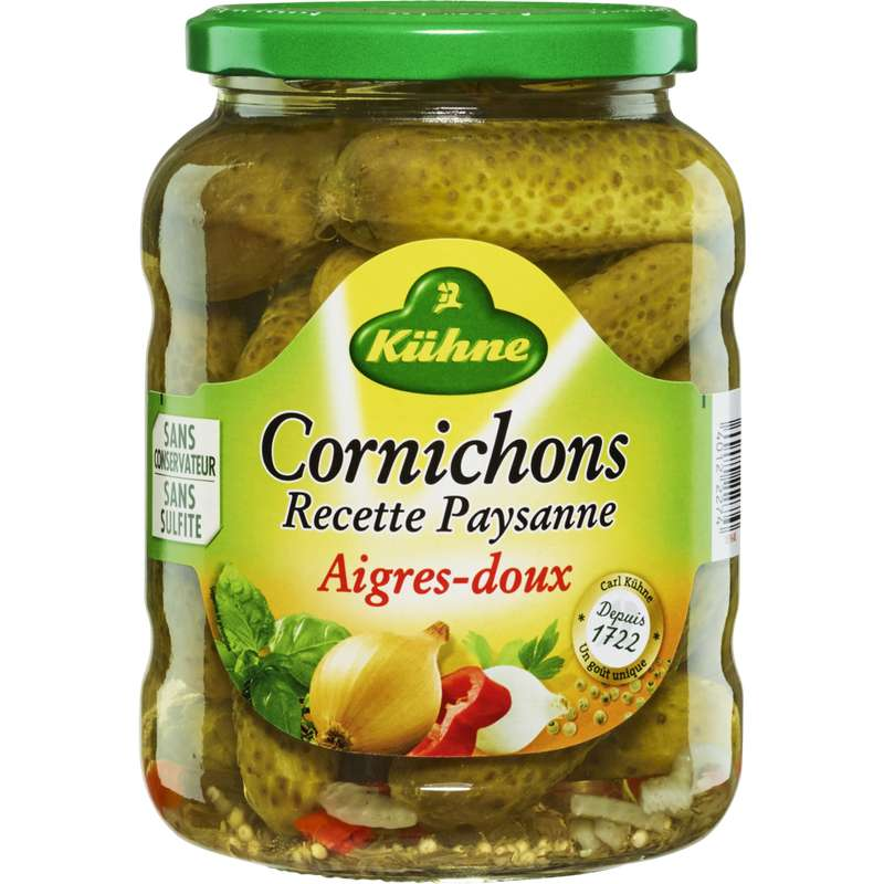 Cornichons aigres doux recette paysanne, Kuhne (360 g)