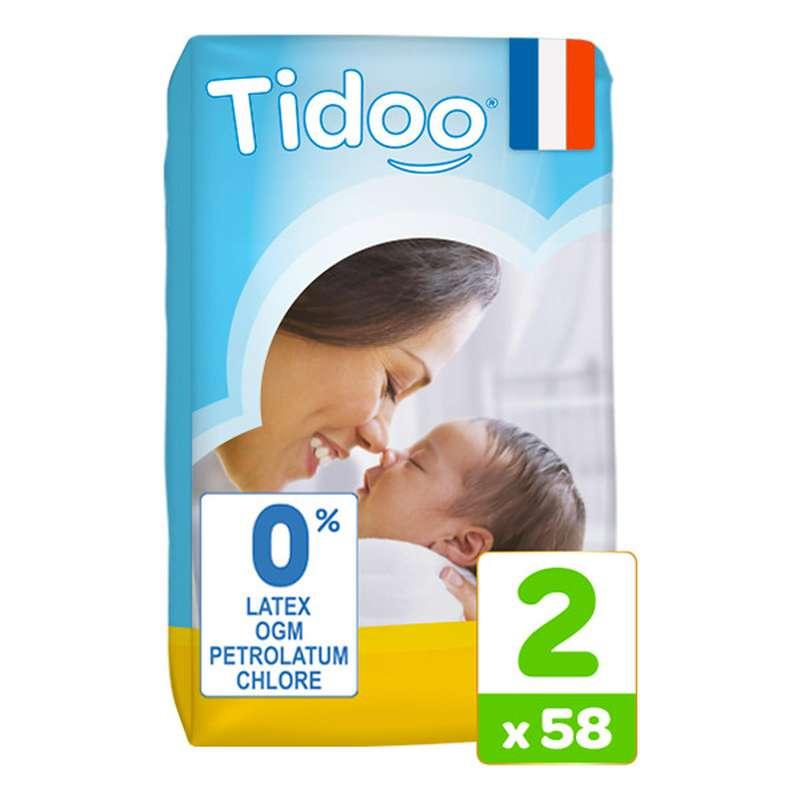 Couches écologiques T2 - S Nouveau né / 3-6 kg, Tidoo Nature (58 couches)