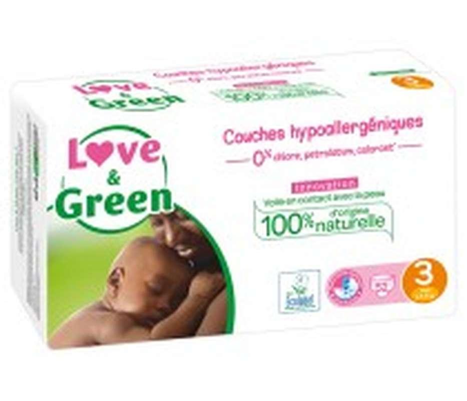 Couches écologiques hypoallergéniques - T3, Love & Green (X 52)