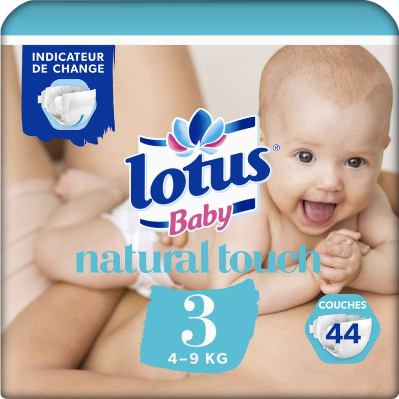 Couches natural touch T3 / 4-9 kg, Lotus Baby (x 44)